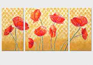 3 tablouri cu maci colorati