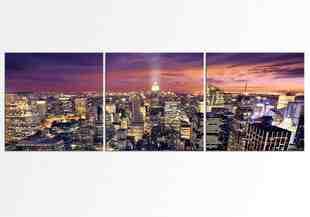 Luminitele orasului impartit in set de 3 tablouri